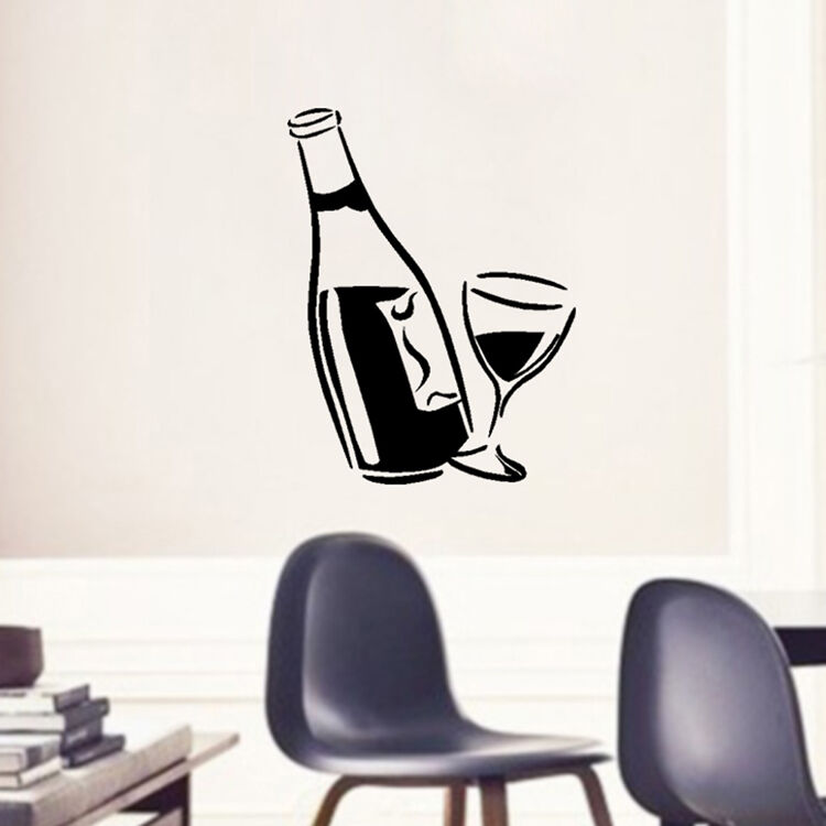 Wall Decor Wine Glasses : Good diy kitchen decal wine glass and bottle wall art