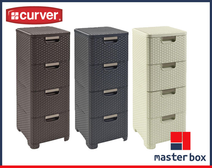 CURVER Rattan Style 4 Drawer Tier Tower 4 Drawers 3 COLORS ...