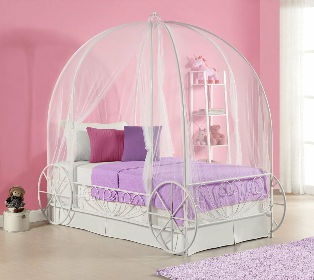 twin disney princess cinderella fairytale carriage girl child canopy pumpkin bed ebay. Black Bedroom Furniture Sets. Home Design Ideas