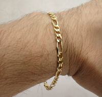 5mm Mens Solid Figaro Link Chain Bracelet Real Solid 14K Yellow Gold ALL SIZES