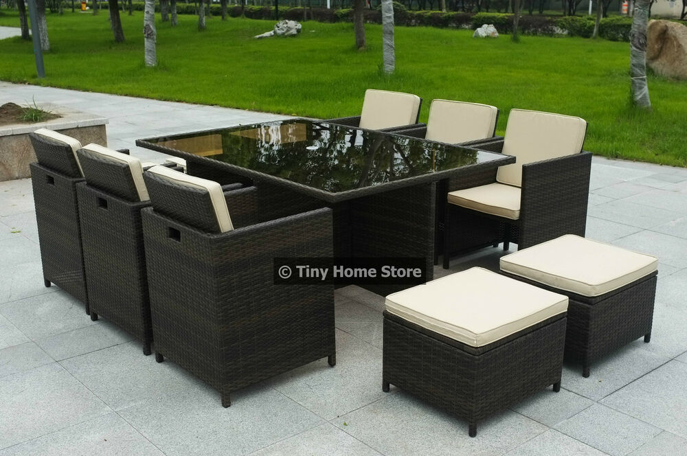 Luxury cube rattan dining set garden furniture patio for Outdoor wicker furniture