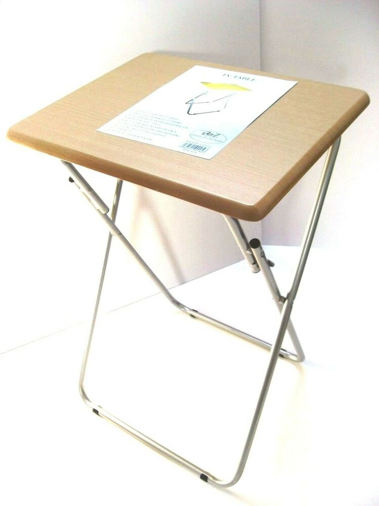 Foldable Tv Table Bed Side Tea Coffee Table Folding Table With Metal Legs Beech Ebay