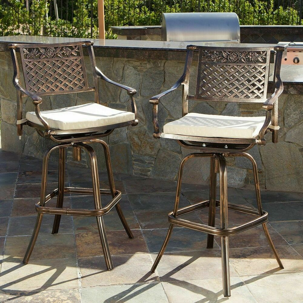 Set Of 2 Outdoor Patio Furniture Cast Aluminum Swivel Bar