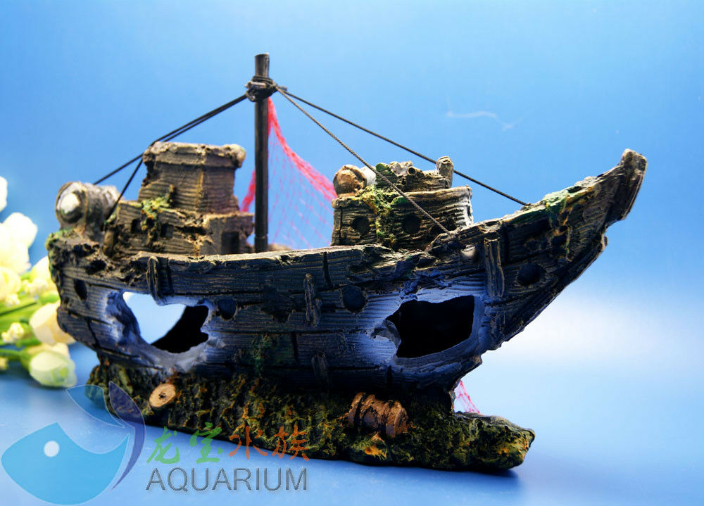Aquarium decoration lost pirate ship for fish tank resin for How to ship fish