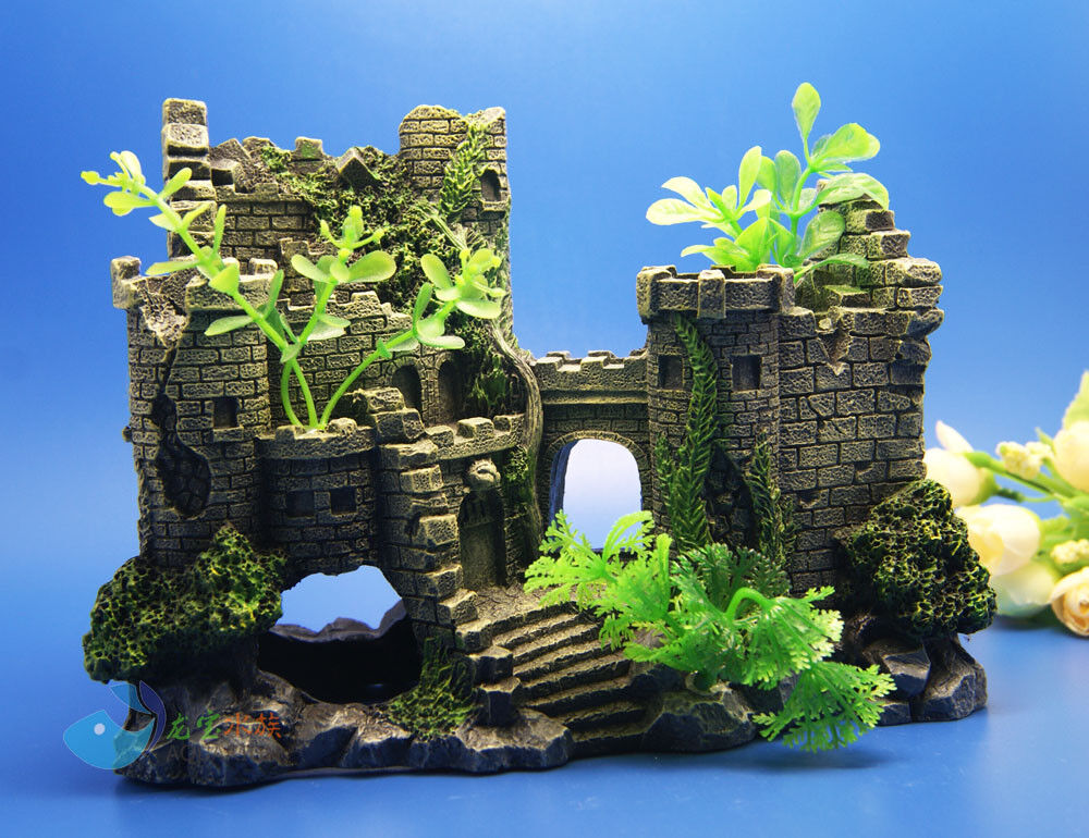 Aquarium decoration the ruins ancient castle for fish tank for Fish tank decoration