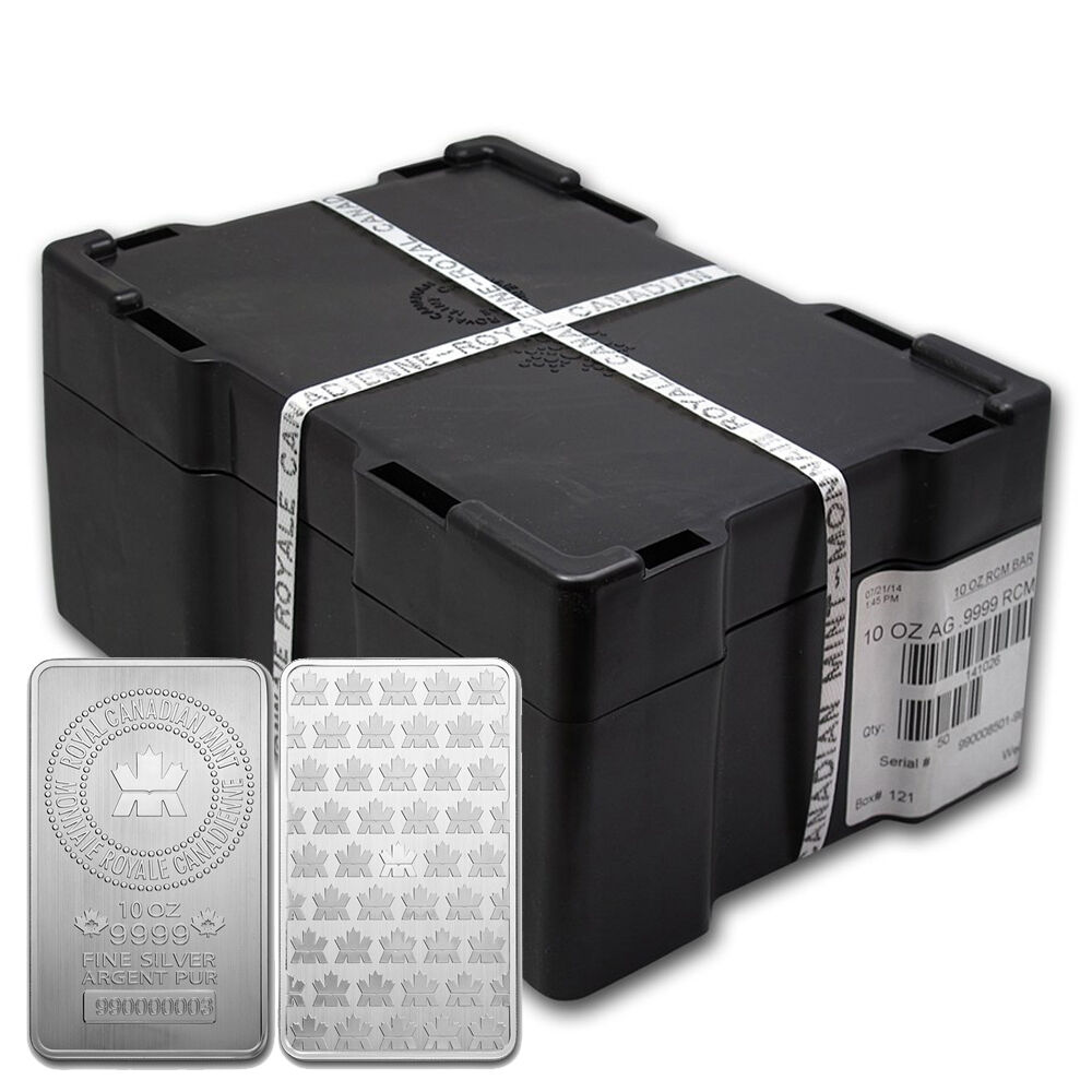 Rcm Sealed Monster Box Lot Of 50 10 Oz Silver Bullion