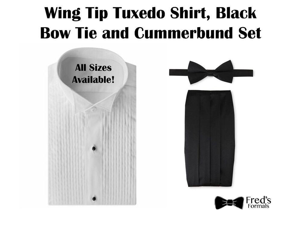 Mens white wing tip tuxedo shirt black bow tie and for Black tuxedo shirt for men
