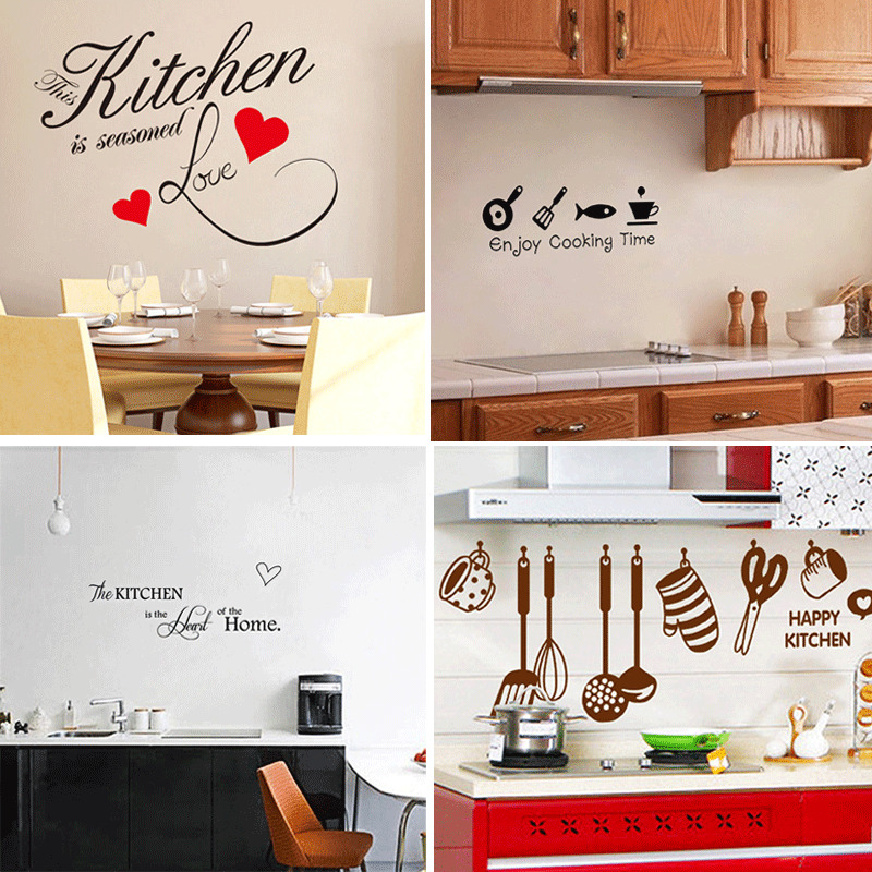 Kitchen Wall Decor Diy : New hot diy removable happy kitchen wall decal vinyl home