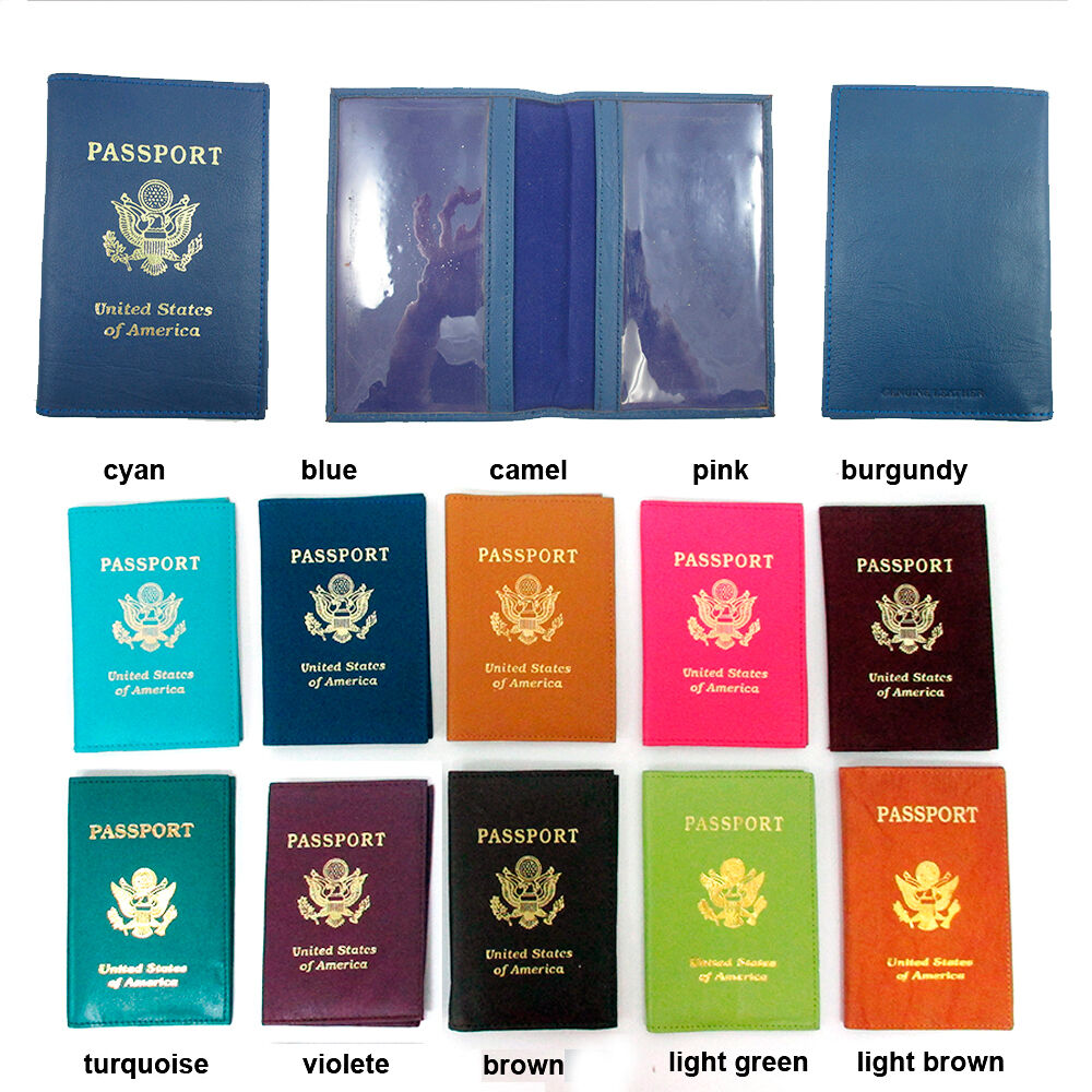 1 Genuine Leather Usa Passport Cover Holder Wallet Case