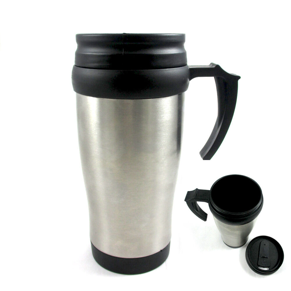 stainless steel insulated double wall travel coffee mug cup 14 oz thermos tea ebay. Black Bedroom Furniture Sets. Home Design Ideas