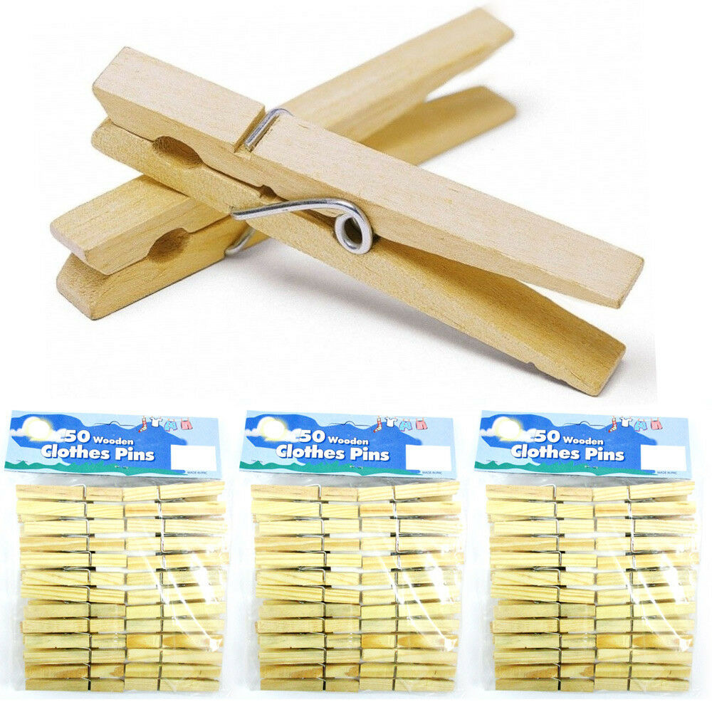 """Lot Of 150 Wood Clothes Pins Laundry Wooden 2 3/4"""" Inch ..."""