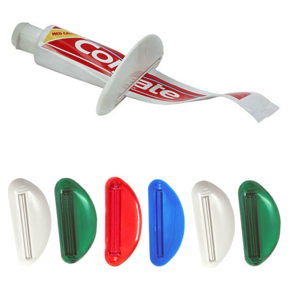 6 Plastic Ez Tube Squeezer Toothpaste Dispenser Holder Rolling Bathroom Extract