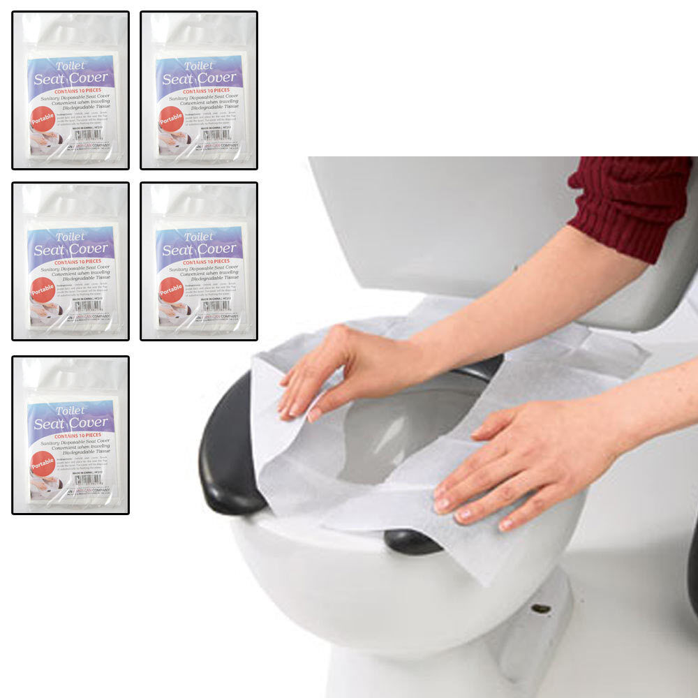 50 Hygienic Toilet Paper Seat Covers Disposable Protector