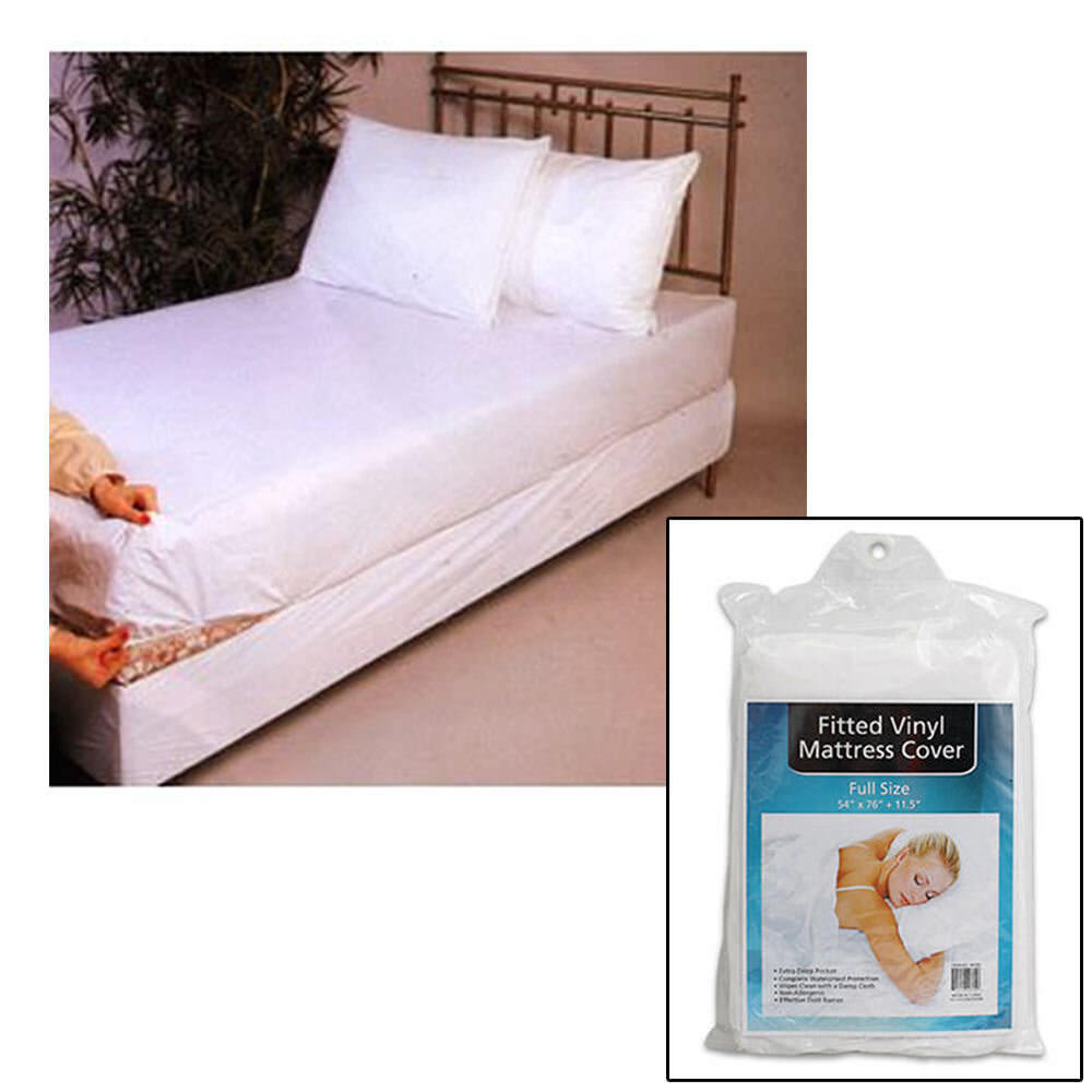 full size bed mattress cover plastic white waterproof bug protector mites dust ebay. Black Bedroom Furniture Sets. Home Design Ideas