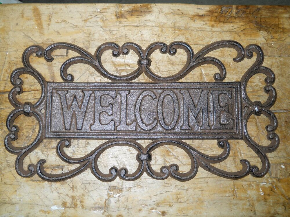 Cast iron antique victorian style welcome plaque sign for Antique decoration