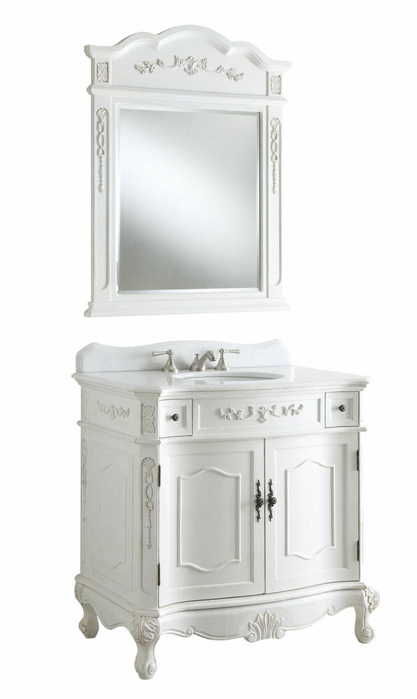36 Antique White Fairmont Bathroom Sink Vanity W Mirror Bc 3905w Aw 36 Ebay