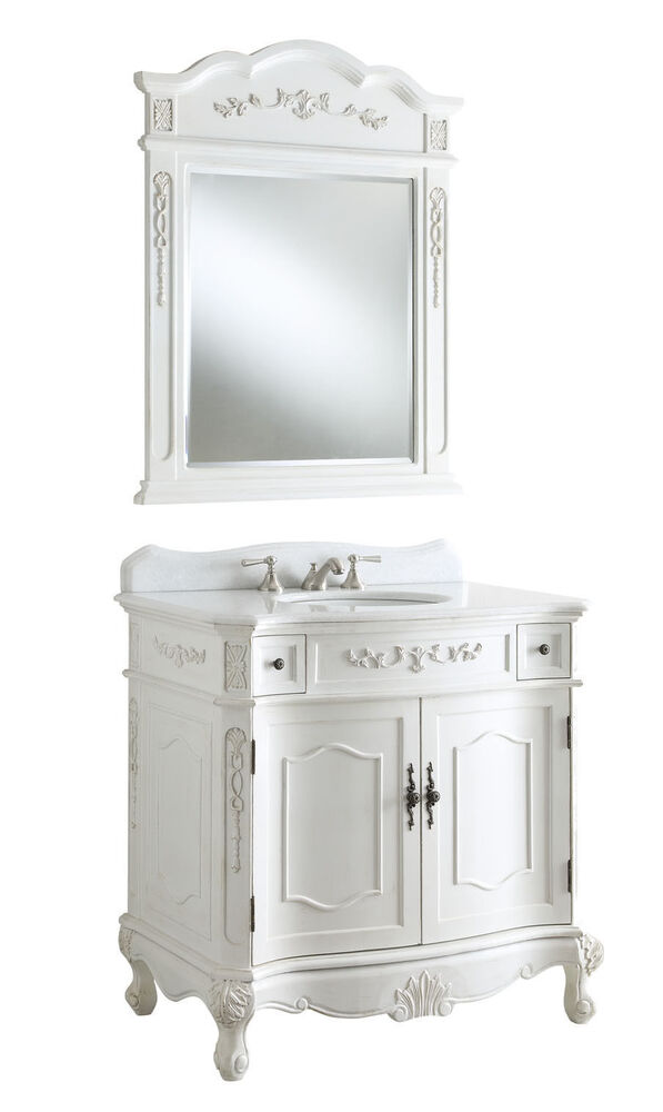 "Ebay Bathroom Vanity With Sink: 36"" Antique White Fairmont Bathroom Sink Vanity W/ Mirror"