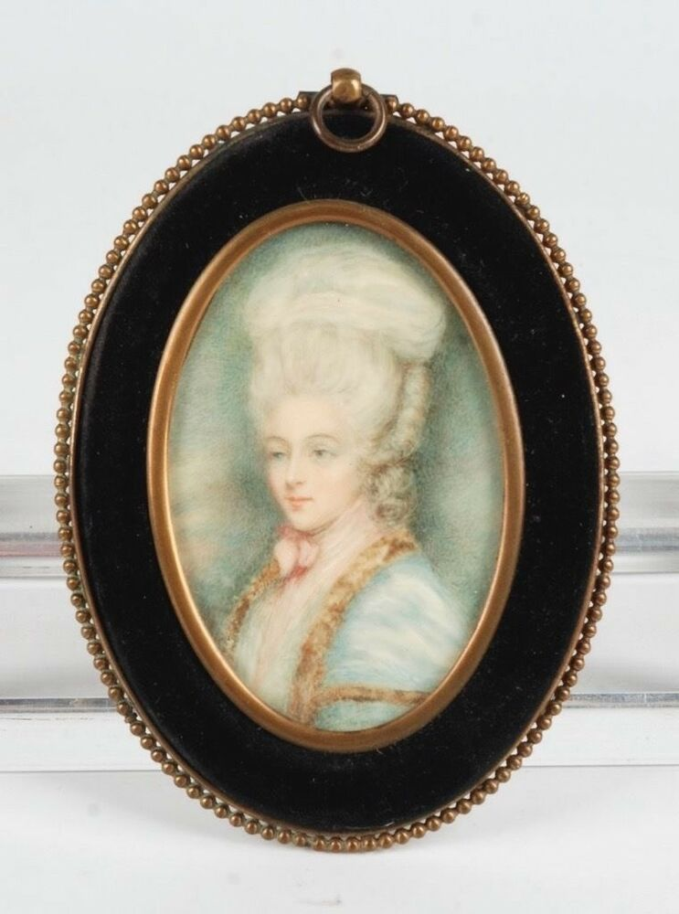 Antique framed hand painted portrait of a lady in a brass for Hand painted portraits from photos