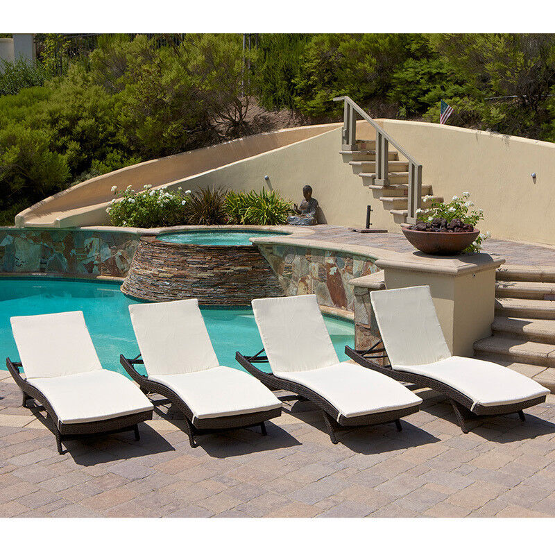 Set Of 4 Outdoor Patio Pool Adjustable Wicker Chaise Lounge Chairs W Cushion