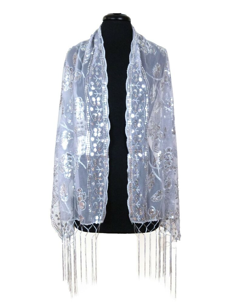 sheer mesh sequin evening prom wedding formal wrap shawl w