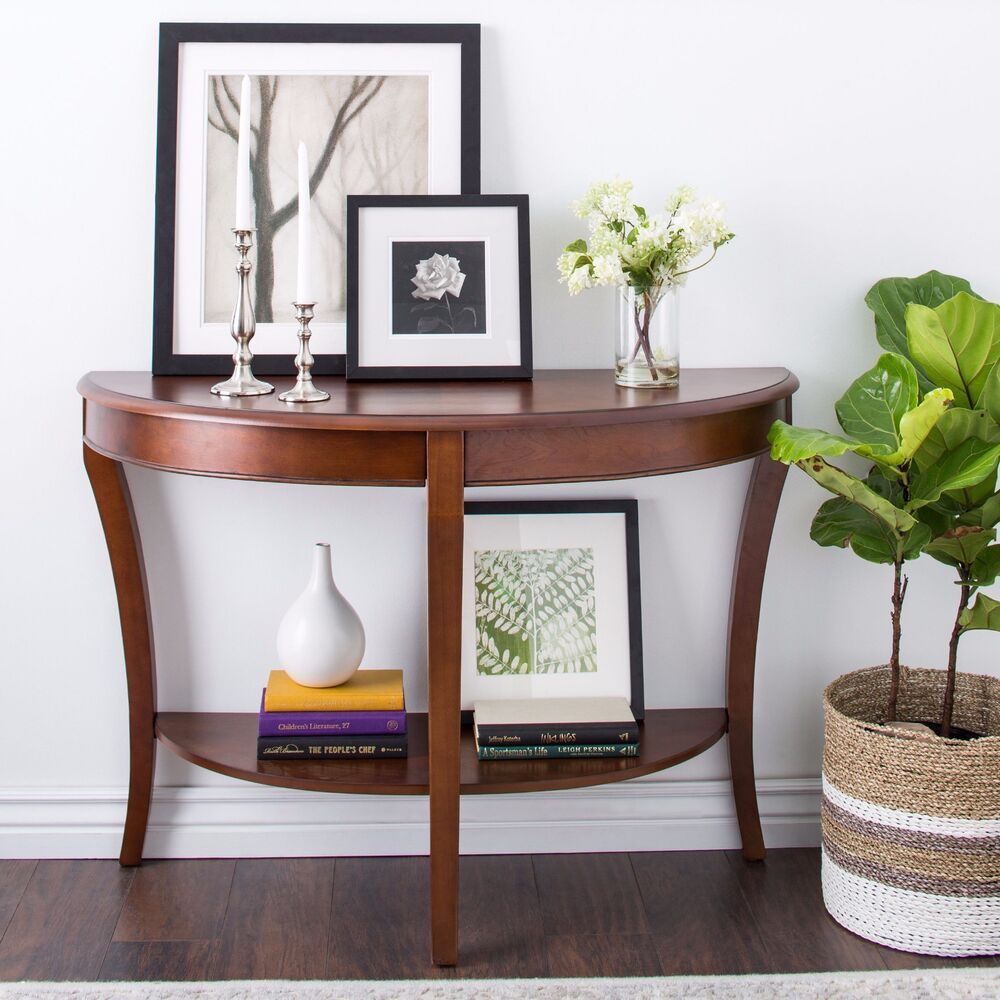 Elegant Console Table Curved Wood Accent Entry Solid Foyer: Entryway Sofa Table Furniture Living Room Hallway Modern