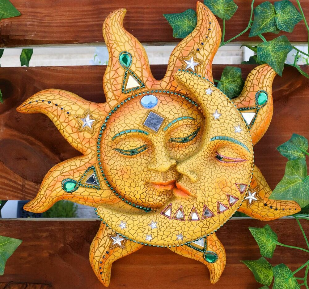 beautiful mosaic celestial sun and moon wall sculpture plaque resin statue ebay. Black Bedroom Furniture Sets. Home Design Ideas