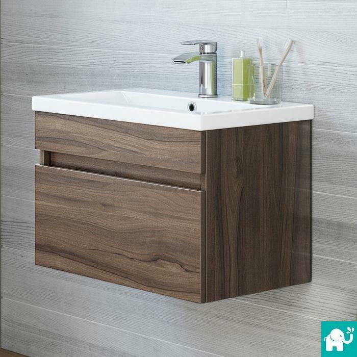 Modern Bathroom Wall Hung Vanity Unit Storage Cabinet Basin Sink Walnut