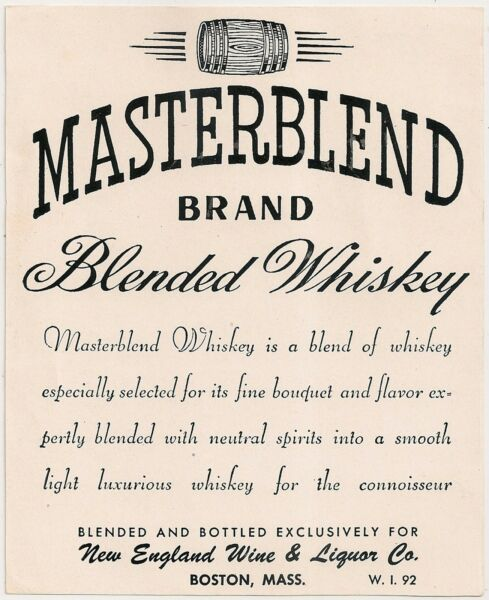Masterblend Blended Whiskey Advertising Product Label