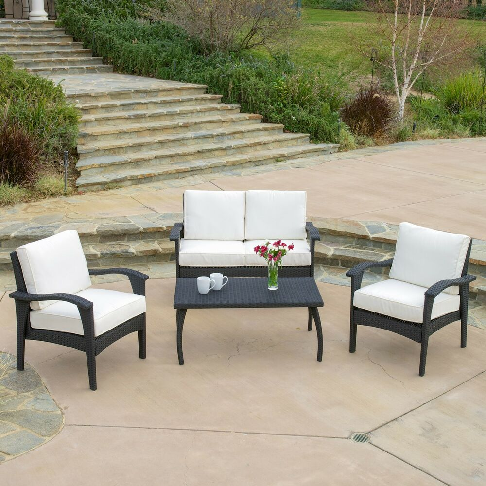 Outdoor patio furniture pe wicker luxury 4pcs sofa seating for Outdoor wicker patio furniture