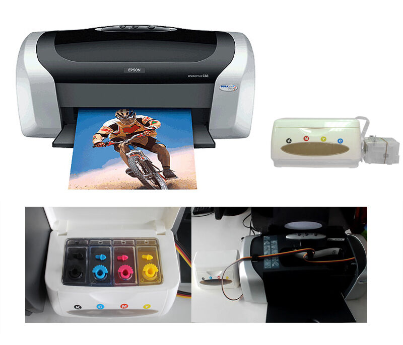 Epson C88 Printer With The Empty Ciss Continuous Ink