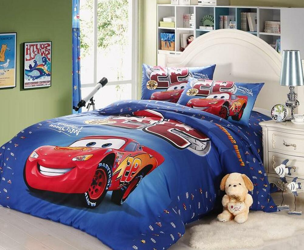 New 2015 Disney Pixar Car Mcqueen Bedding Set 4pc Size