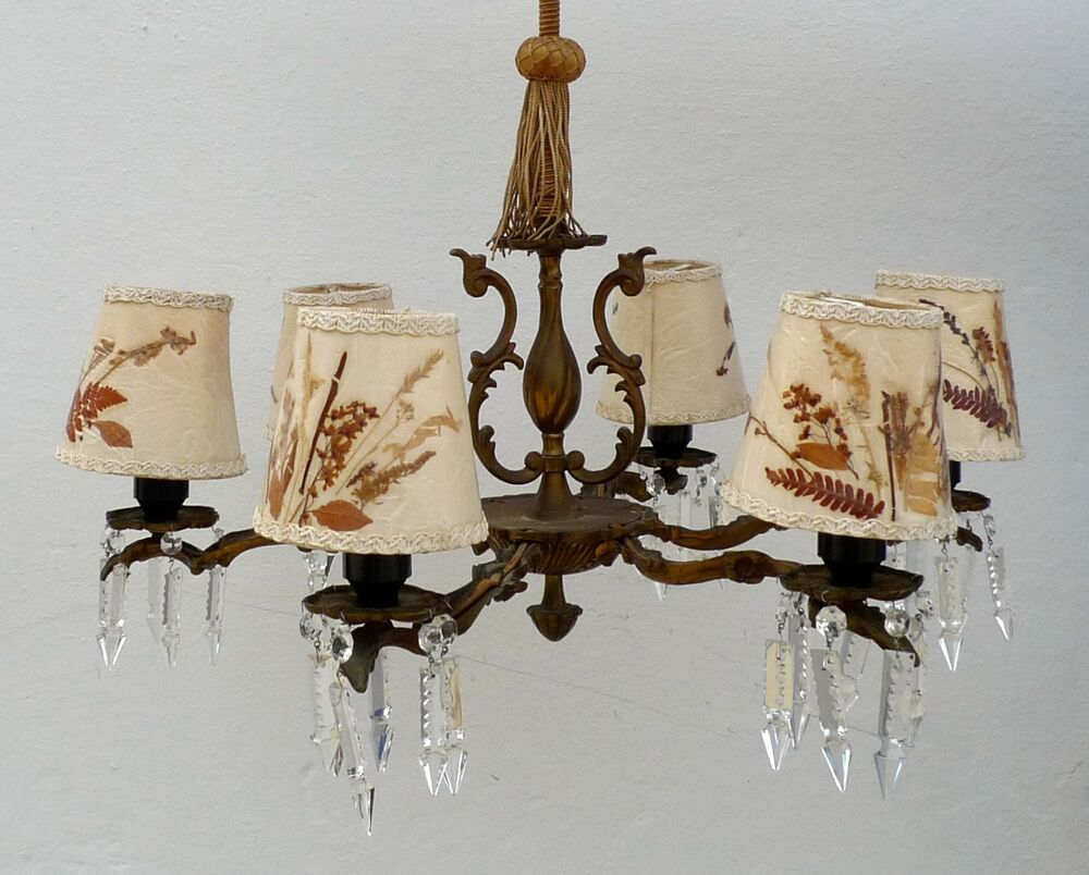 jugendstil messing deckenlampe 6 flammig l ster kronleuchter chandelier prismen ebay. Black Bedroom Furniture Sets. Home Design Ideas