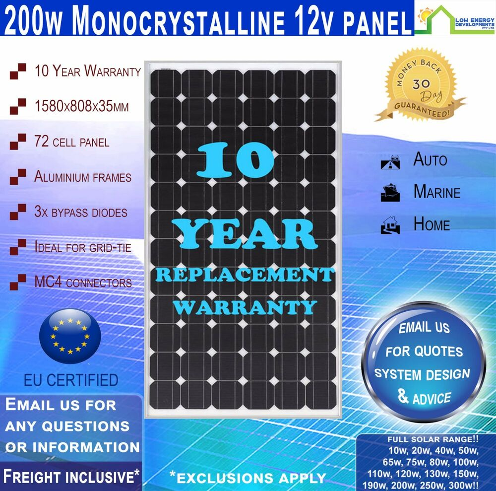 Solar Panel Yearly Savings: 200 Watt 12V Solar Panel Mono