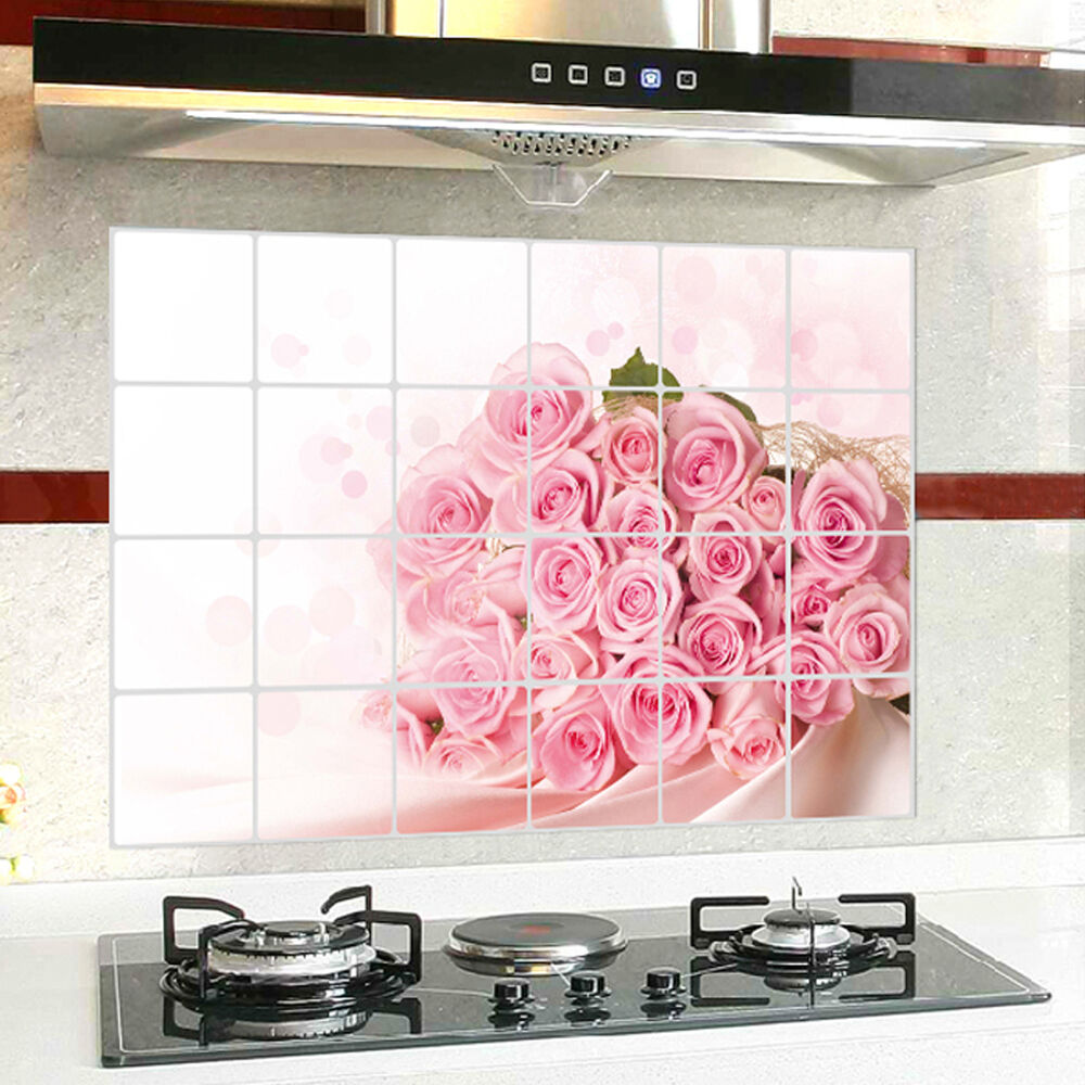 Pink rose flower kitchen oil proof decor wall sticker for for Kitchen decoration pink