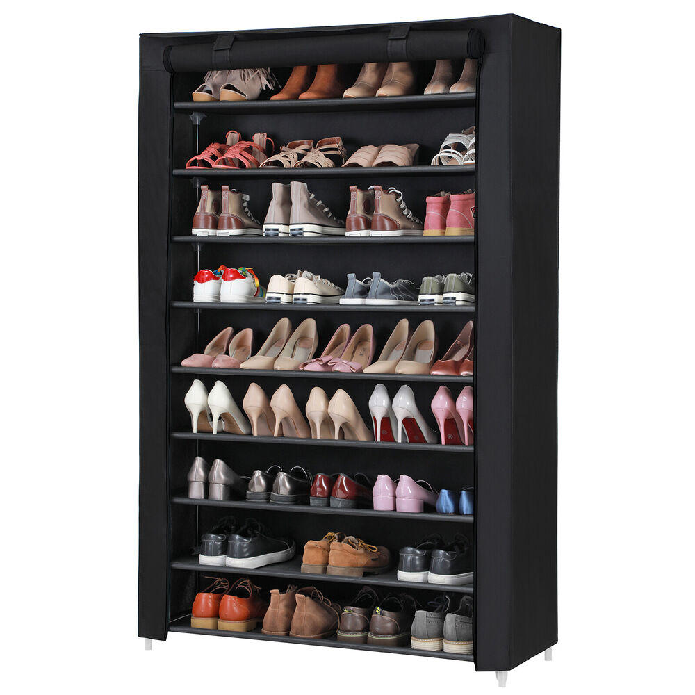 schuhregal schuhschrank stoffschrank f r 54 paar schuhe regal 10 ebenen rxj00h ebay. Black Bedroom Furniture Sets. Home Design Ideas