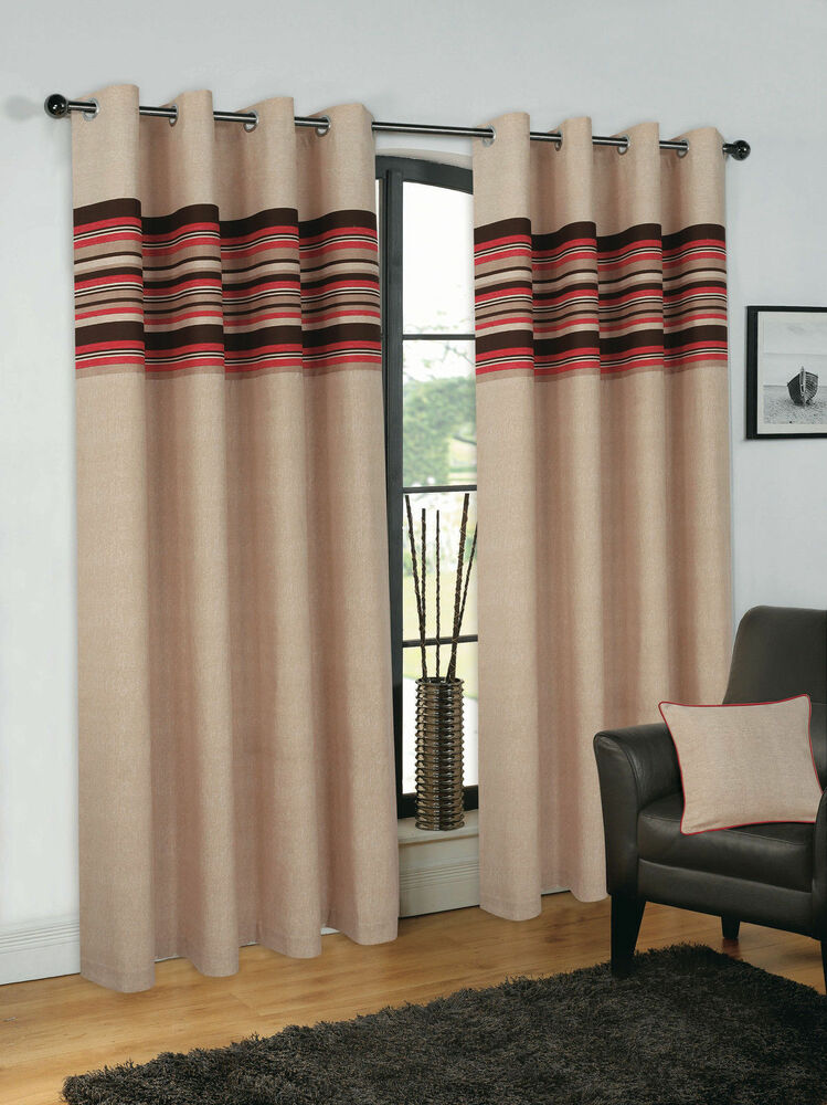 New Fully Lined Eyelet Curtains Pair Red Amp Brown 46 66 90