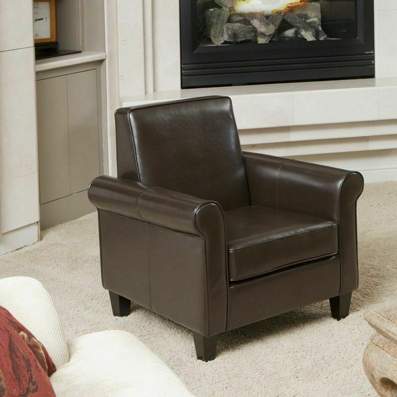 Living room furniture chocolate brown leather club chair for Ebay living room chairs