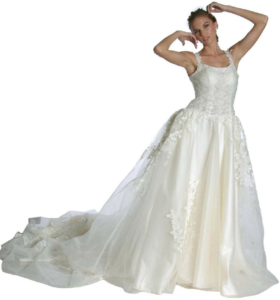 Formal bridal wedding gown dress ivory 12 new ebay for Ebay wedding bridesmaid dresses