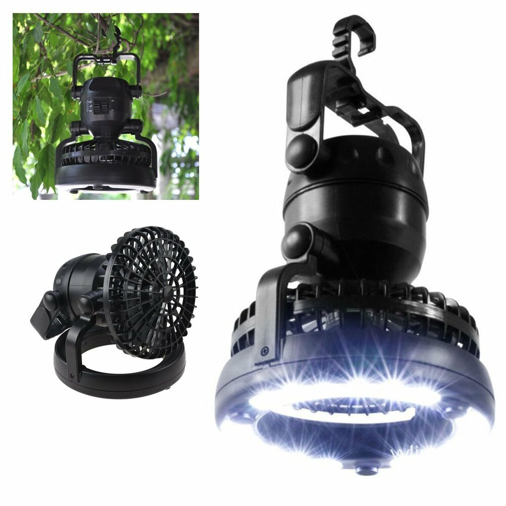2 In 1 Camping Light With Fan 18 Led Battery Operated