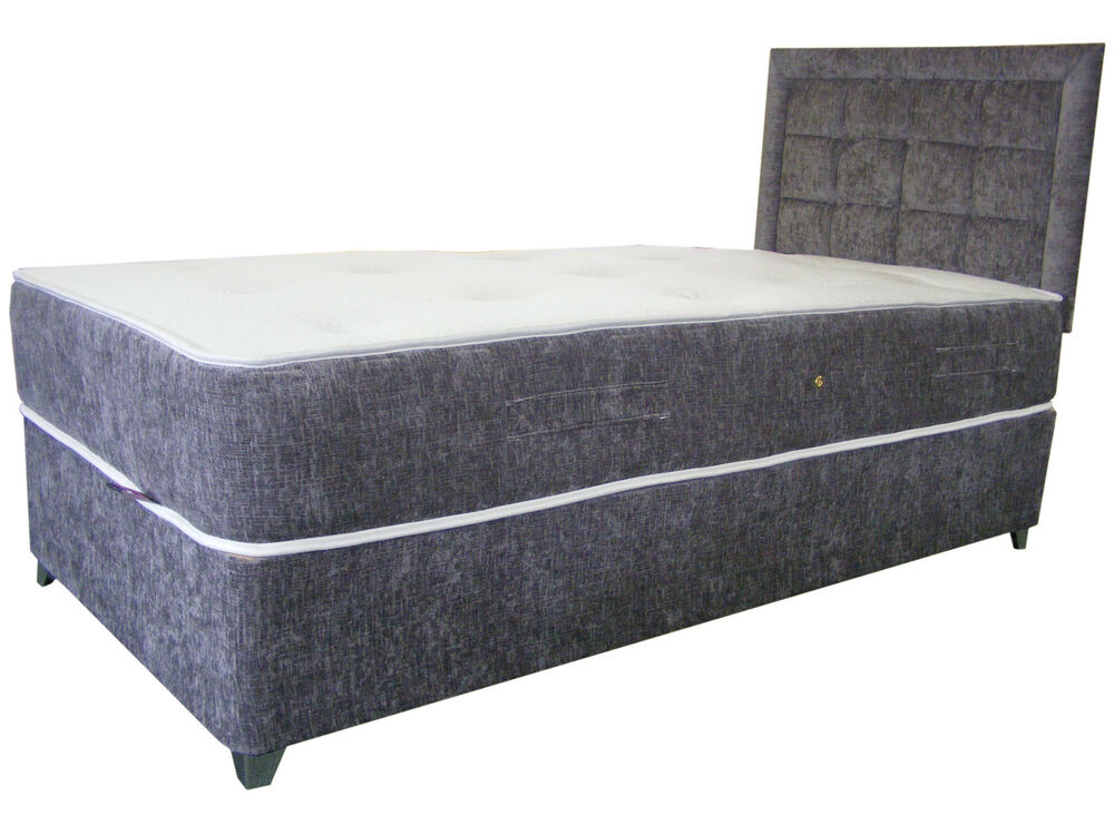 Silver chenille upholstered divan bed and mattress divan base chenille bed divan ebay Divan bed bases