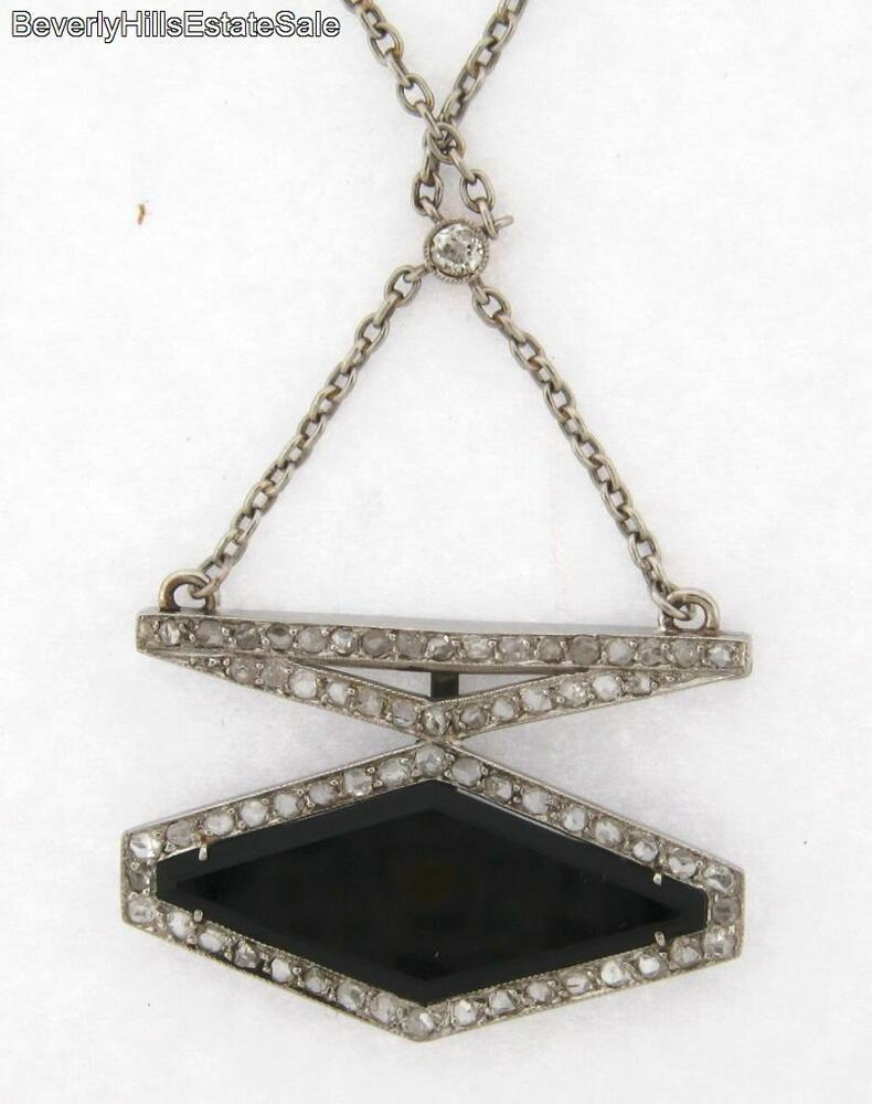 Unique Antique Art Deco Platinum Diamond Black Onyx