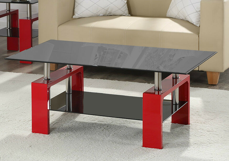 Glass Coffee Table Black Or Clear Glass White Black Red Walnut Legs With Chrome Ebay