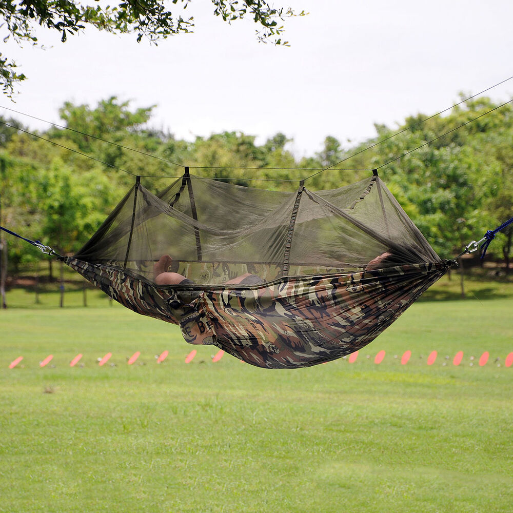 Portable Mosquito Netting : New portable camouflage hammock fabric hanging bed with