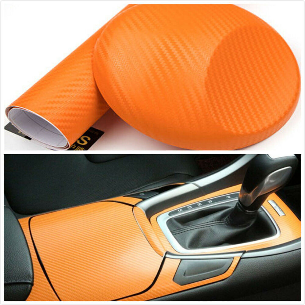 15 x 39 orange carbon fiber vinyl wrap stickers auto interior accessorie panel ebay. Black Bedroom Furniture Sets. Home Design Ideas
