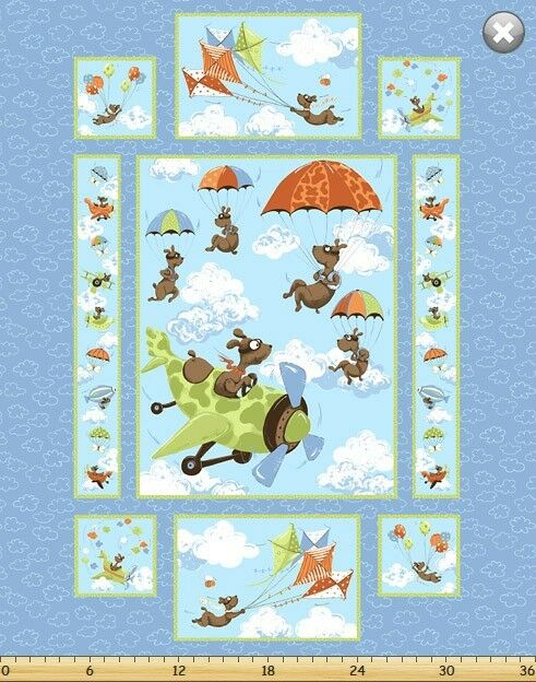 Susybee Zig Flying Dog Panel Quilt Fabric 35 Quot L X 44 Quot W
