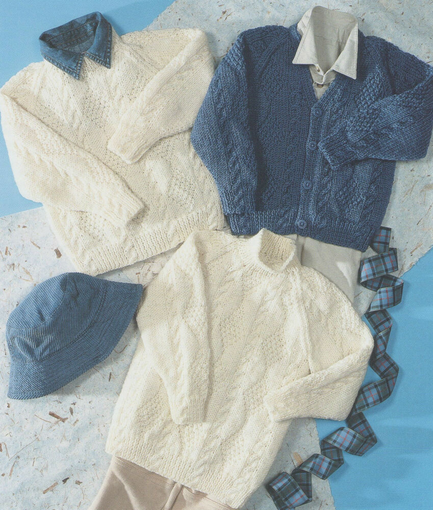 Tunic Sweater Knitting Pattern : Knitting Pattern CHILDRENS SWEATER TUNIC & CARDIGAN ARAN 20-30 ins 5...