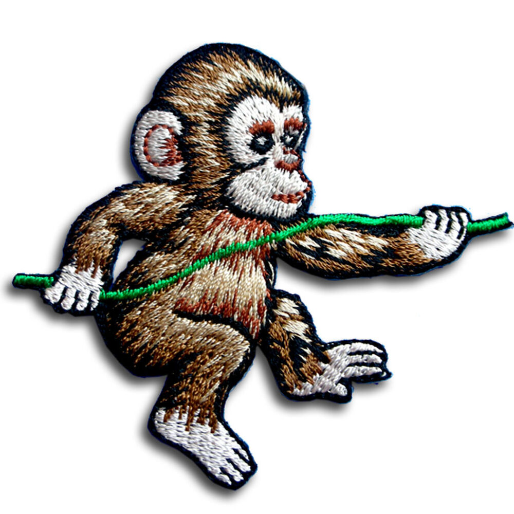Climbing Monkey Fantasy Banana Patch Embroidered Iron on ...