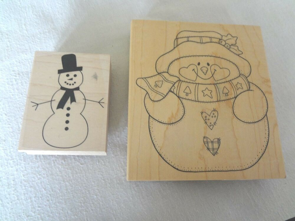 Two Wooden Rubber Snowman Stamps Scrapbooking Paper Crafts ...