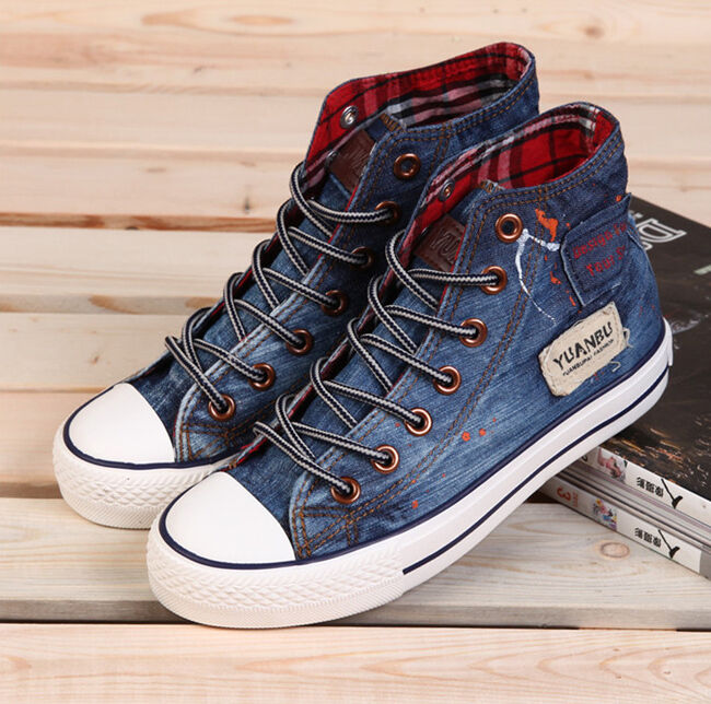 Unisex Womens and Mens Canvas Shoes High-top Lace Up Sneakers Denim Jean Shoes | eBay