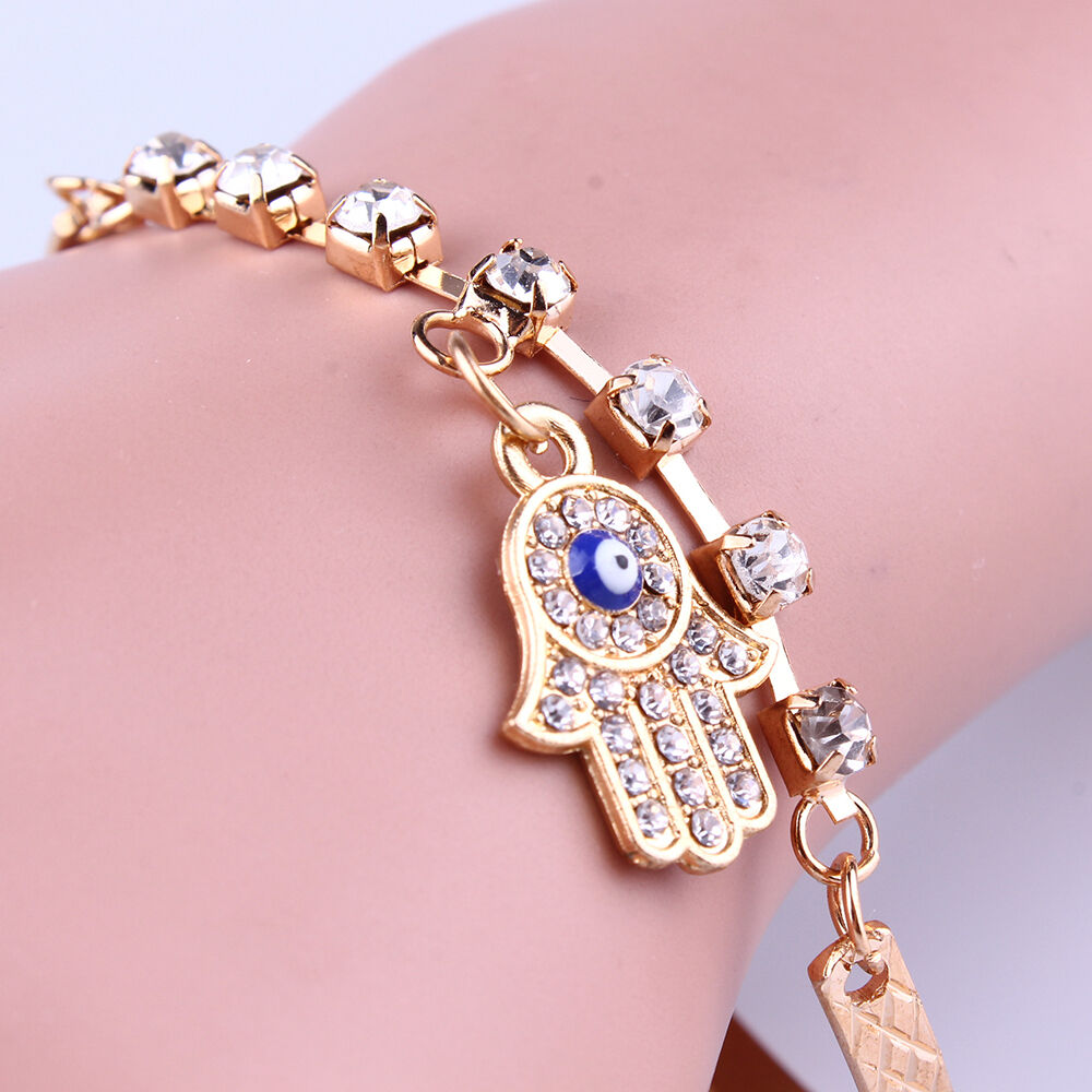 Cuff Bangle Bracelet: Fashion Charm Women Rhinestone Gold Plated Bracelet Bangle